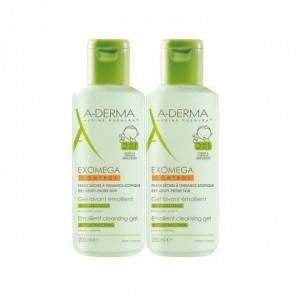 A derma exomega control gel lavant émollient corps et cheveux, 2 en 1 500mlx2